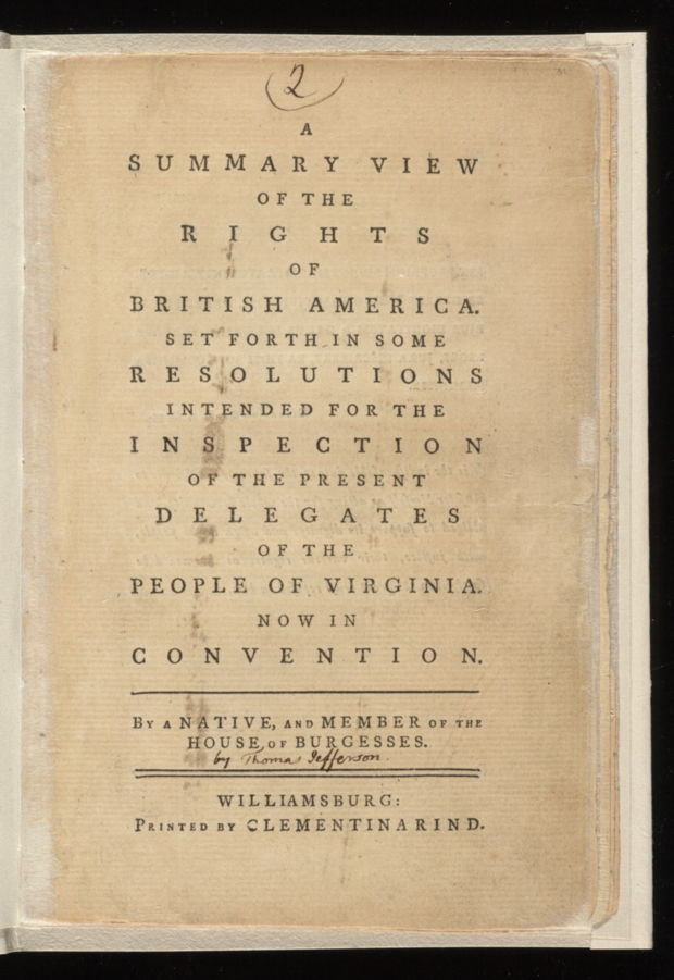 A summary view of the rights of British America,