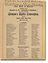 declaration of sentiments and resolutions womens rights In july 1848, over 300 men and women met in seneca falls, new york for the first womens' rights convention there, the declaration was debated and refined the public release of the declaration of sentiments triggered dialog among many women also interested in equal rights and womens' suffrage.