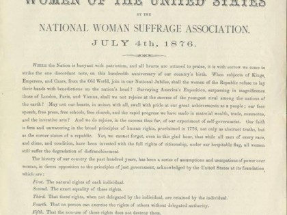 Declaration of Rights of the Women of the United States (July 4, 1876)