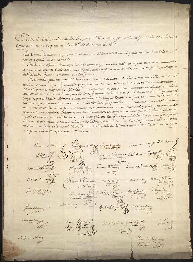 Declaration of Independence of the Mexican Empire (Acta de ...