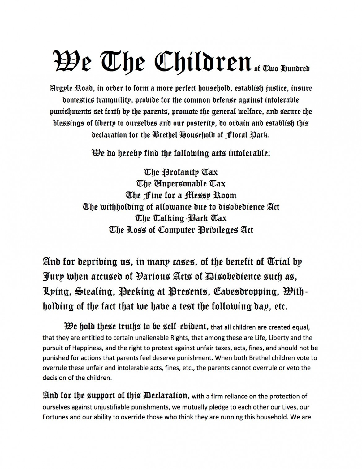 We the Children Declaration of Independence | Declaration Project